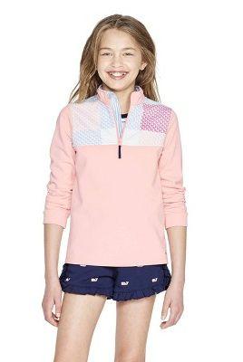 5ac8e32e50392 Girls' Long Sleeve 1/4 Zip Pullover Patchwork Whale Sweatshirt. vineyard  vines for Target ...