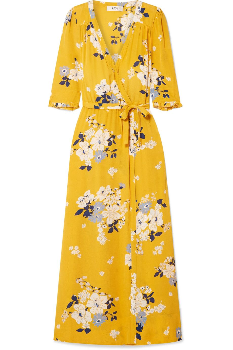 """Pia Floral-Print Wrap Dress Sea net-a-porter.com $255.50 SHOP NOW """"I've been Goldilocks-ing for a work-appropriate floral dress for a while now. I've tried on what feels like hundreds and they're all either too bright, too busy, or too juvenile. This one with its muted palette, sophisticated silhouette, and vintage vibe seems just right.""""— Katie Conner, ELLE.com Site Director"""