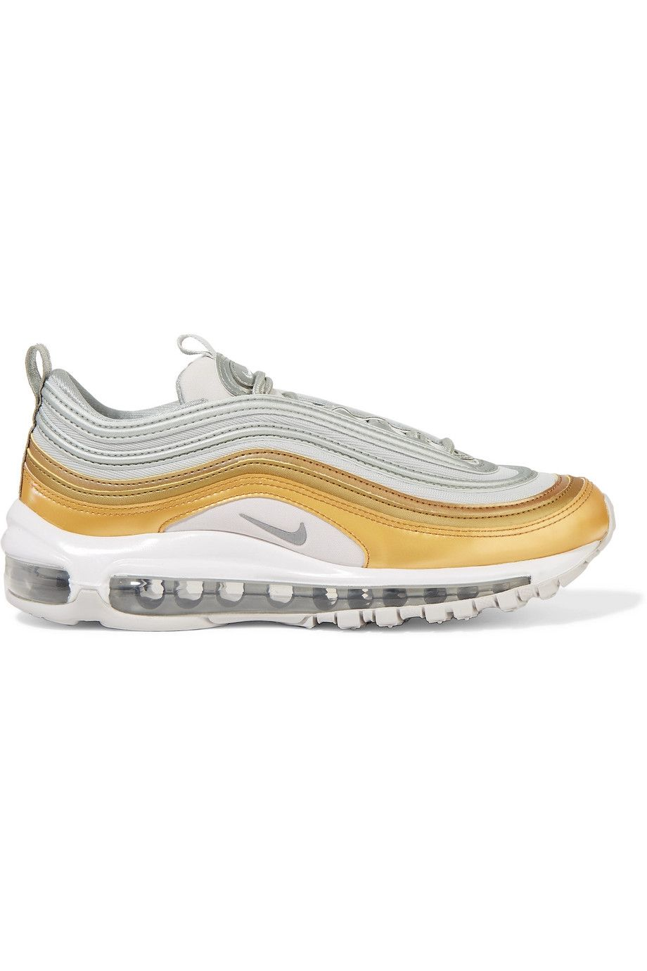 """Air Max 97 SE Sneakers Nike net-a-porter.com $85.00 SHOP NOW """"For this purchase, I consulted ELLE.com assistant editor and resident hypebeast Nerisha Penrose, who recommended the Nike Airmax 97s for its classic design and different color ways. I went with white and metallic gold (extra, why not?) which will pair nicely with summer dresses,""""— Ariana Yaptangco, Social Media Editor"""