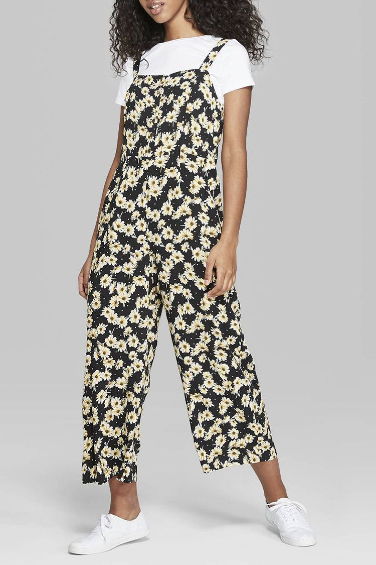 Wild Fable Floral Print Strappy Button Front Jumpsuit