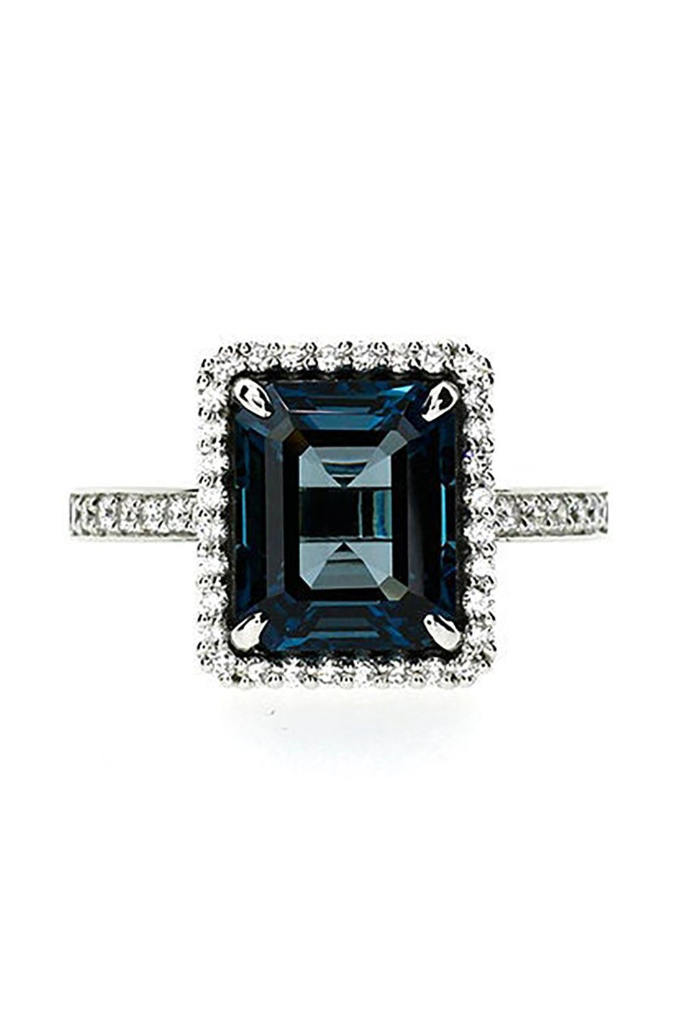 c6f2440030d Emerald Cut Blue Topaz Engagement Ring