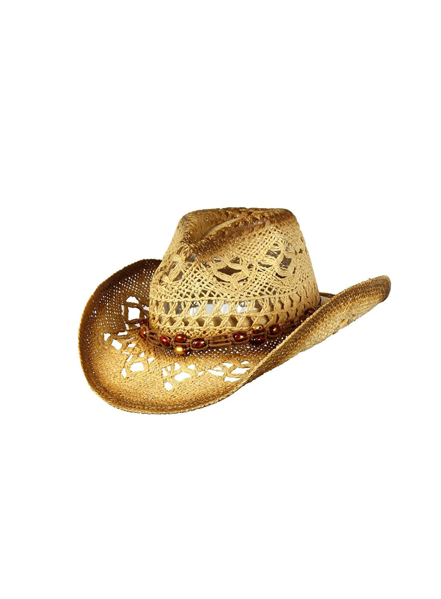 Shapeable Toyo Straw Cowboy Hat w/Beaded Trim Band