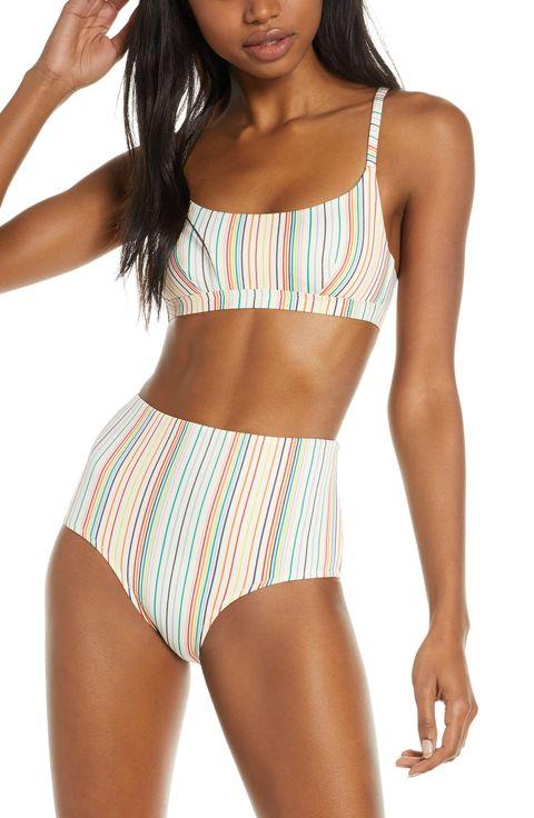 759e0a505df71 Made Well Second Wave Retro Rainbow Stripe High-Wasted Bikini Bottoms