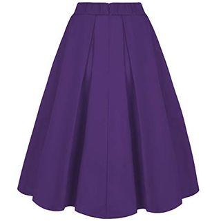 Purple A-Line Skirt With Pockets