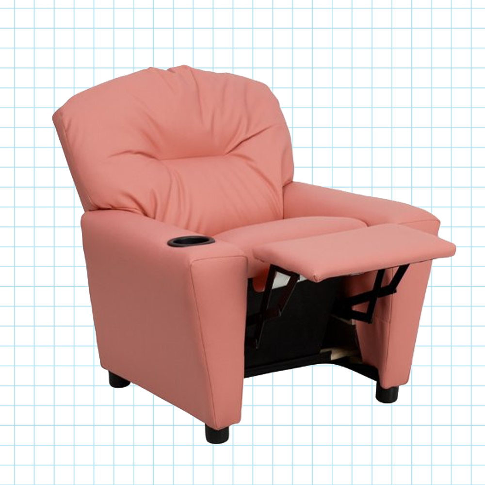 Fantastic Contemporary Pink Vinyl Kids Recliner With Cup Holder Andrewgaddart Wooden Chair Designs For Living Room Andrewgaddartcom