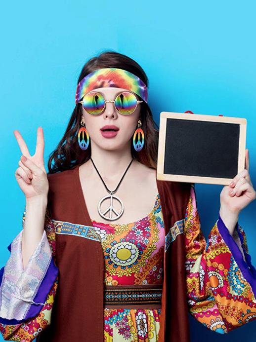 Multi-Colored Women/'s Hippie Love Child Costume One Size