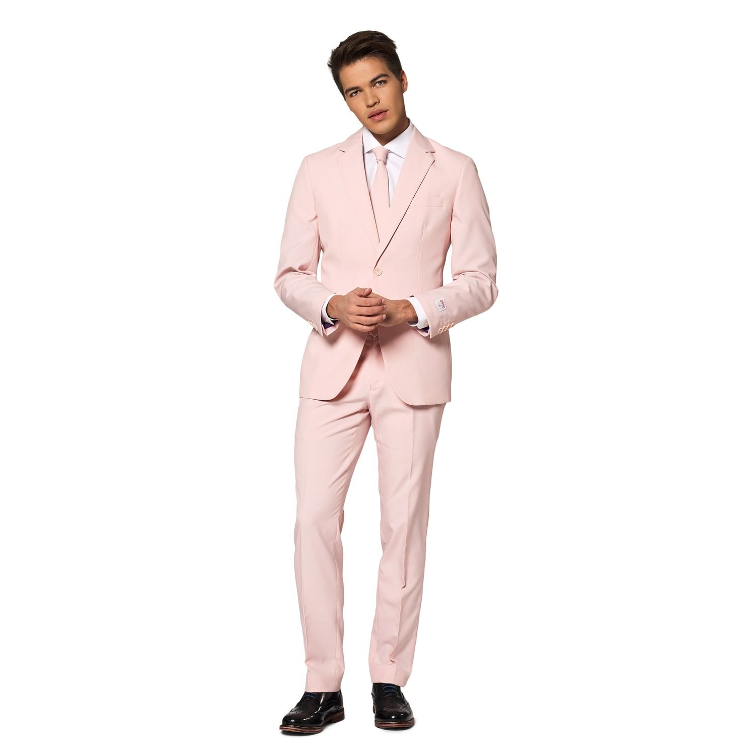 Slim-Fit Lush Blush Solid Suit & Tie Set