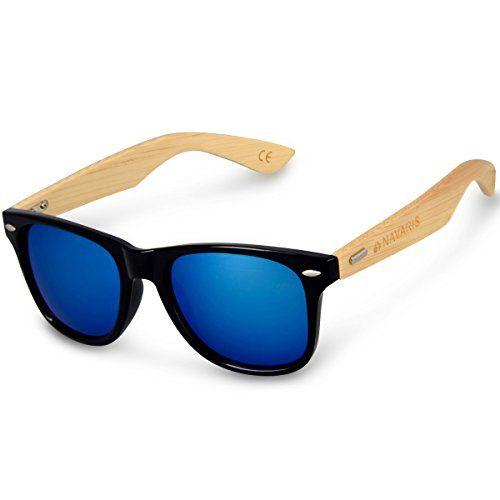 ce8688476a Navaris Gafas de sol UV400 - Gafas de madera para hombre y mujer - Gafas de  sol con patillas de madera en diferentes colores