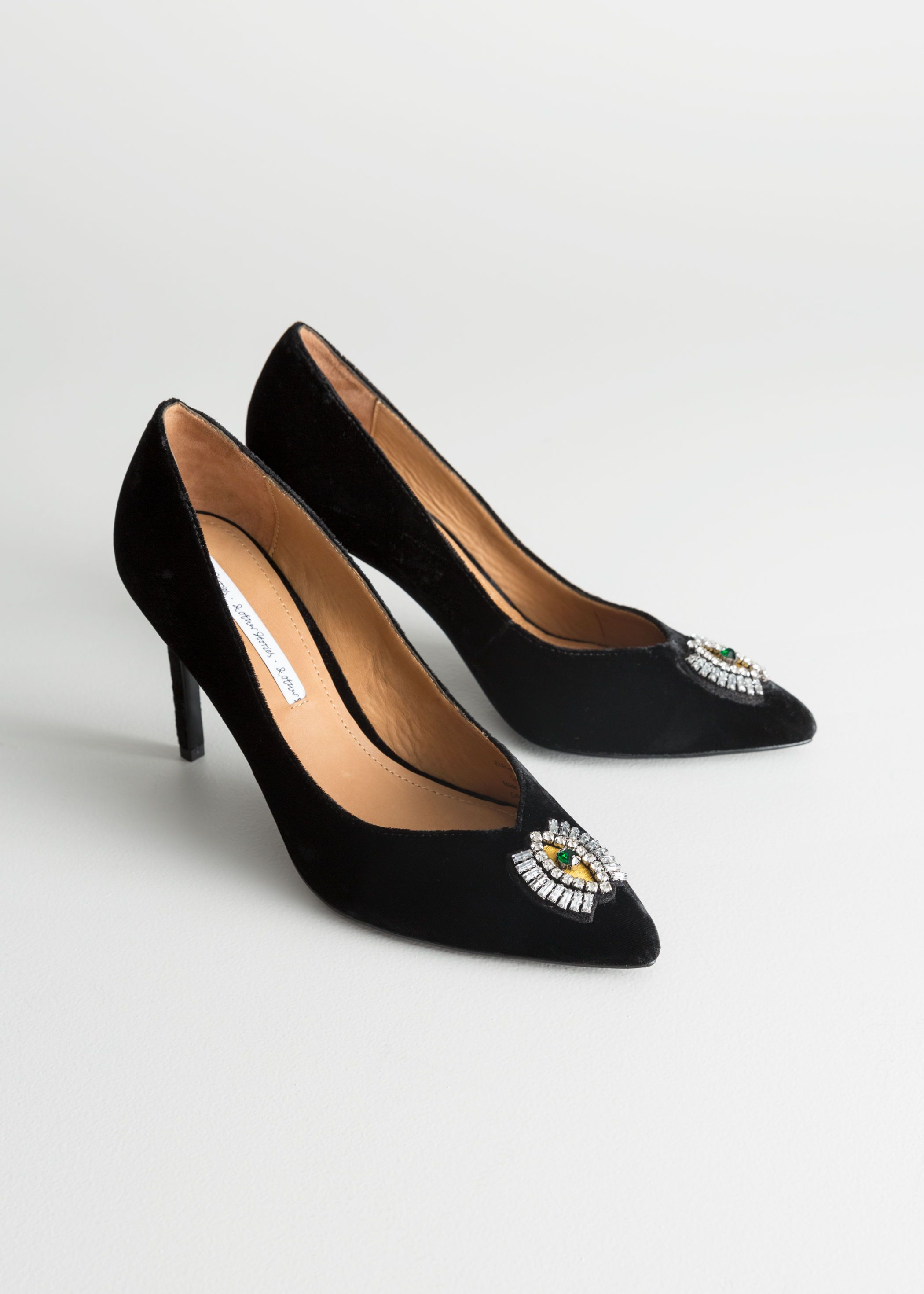 525ecdb1fc2 Jewelled Eye Velvet Pumps
