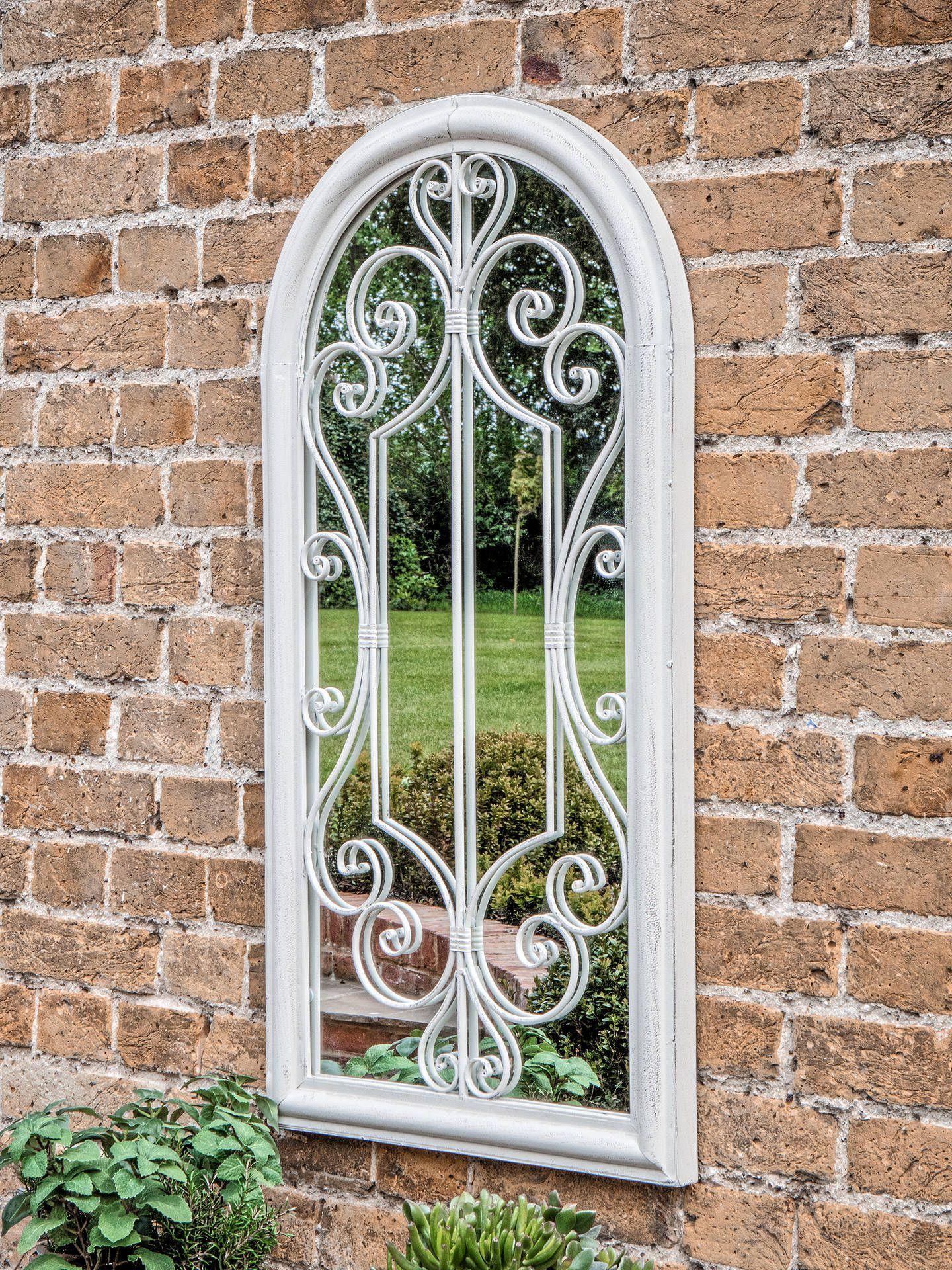 Fleura Outdoor Garden Wall Ornate Arched Mirror 96 5 X 49cm Antique Ivory