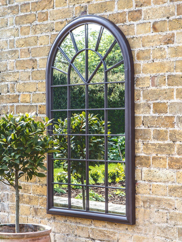Fura Outdoor Garden Wall Window Style Arched Mirror 131 X 75cm Antique Bronze