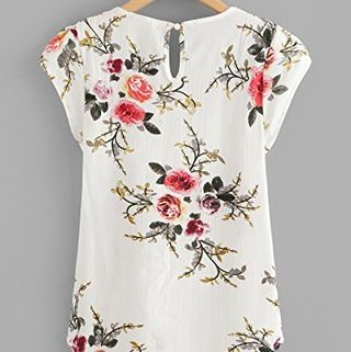 Floral Print Petal Sleeve Blouse