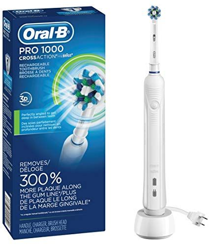 White Pro 1000 Power Rechargeable Electric Toothbrush, Powered by Braun
