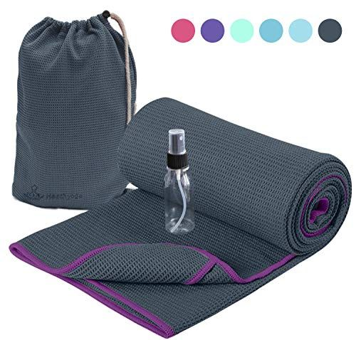 Pilates,or Sweaty Practice Hot Yoga Towel,Non-Slip Yoga Mat Cover,Eco-Friendly,Exclusive Pockets Cover Each Corner of The mat,Microfiber Yoga Towel,Ideal for Bikram Hot Yoga