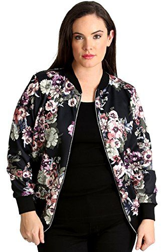 19d86f177 Plus Size Varsity Bomber Jacket With Floral Print