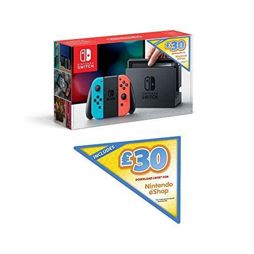 Nintendo Switch (Neon Red/Neon Blue) with £30 Nintendo E-shop Credit &  Mario Kart 8 Deluxe