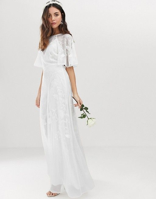 Embroidered Flutter Sleeve Wedding Dress Beach
