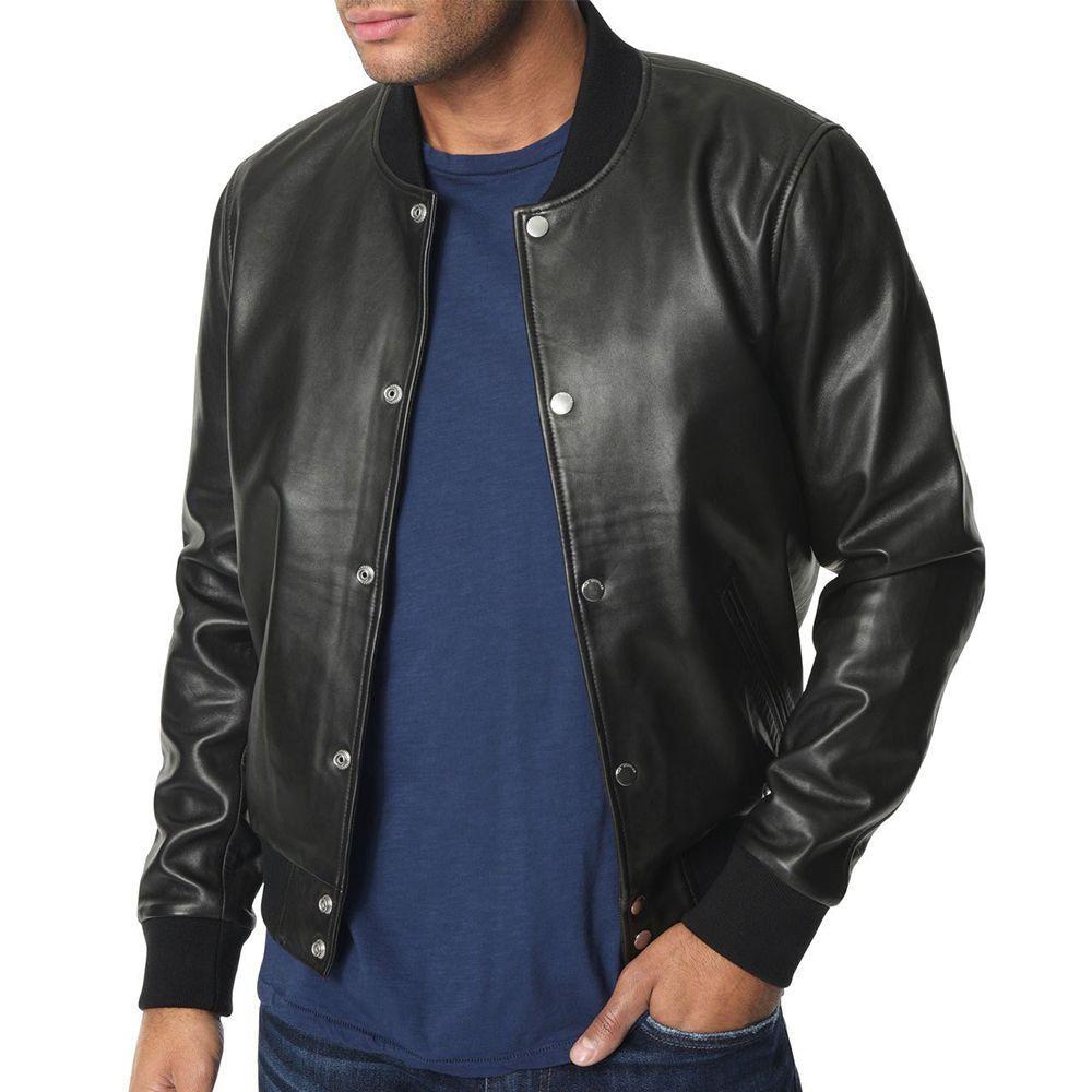 Joes Jeans Mens Lamb Leather Bomber Jacket