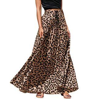 Leopard Print Chiffon Maxi Skirt