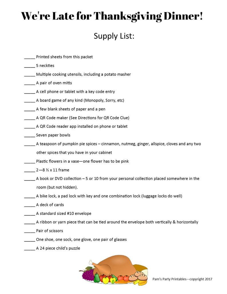 photograph about Free Printable Women's Party Games identify Do it yourself Thanksgiving Escape Place Package