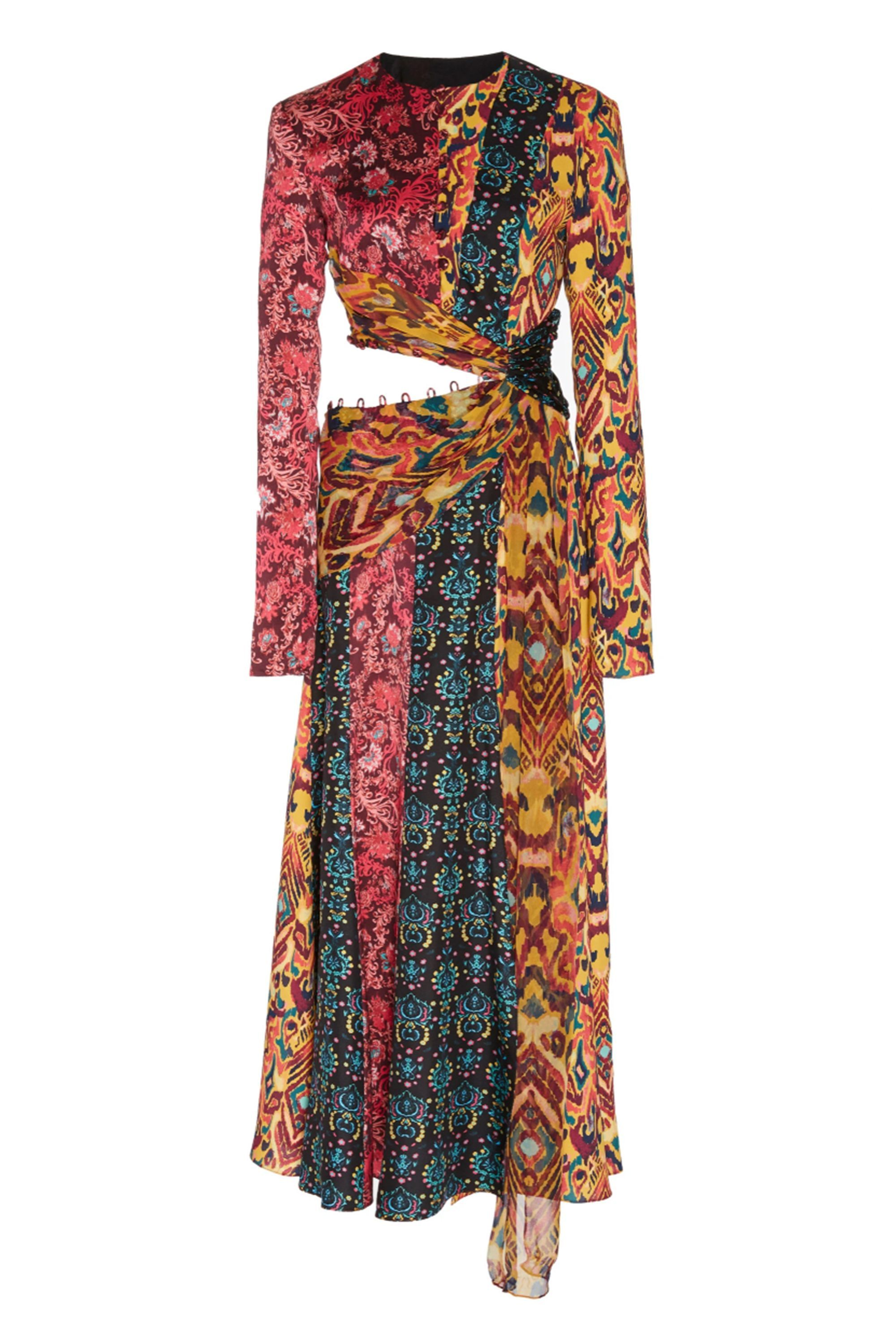 Taxila Cutout Patchwork,Effect Silk Midi Dress