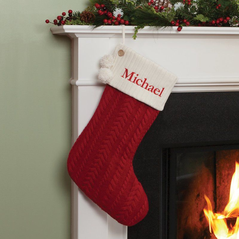 Christmas Stocking Personalized.Personalized Cable Knit Stocking