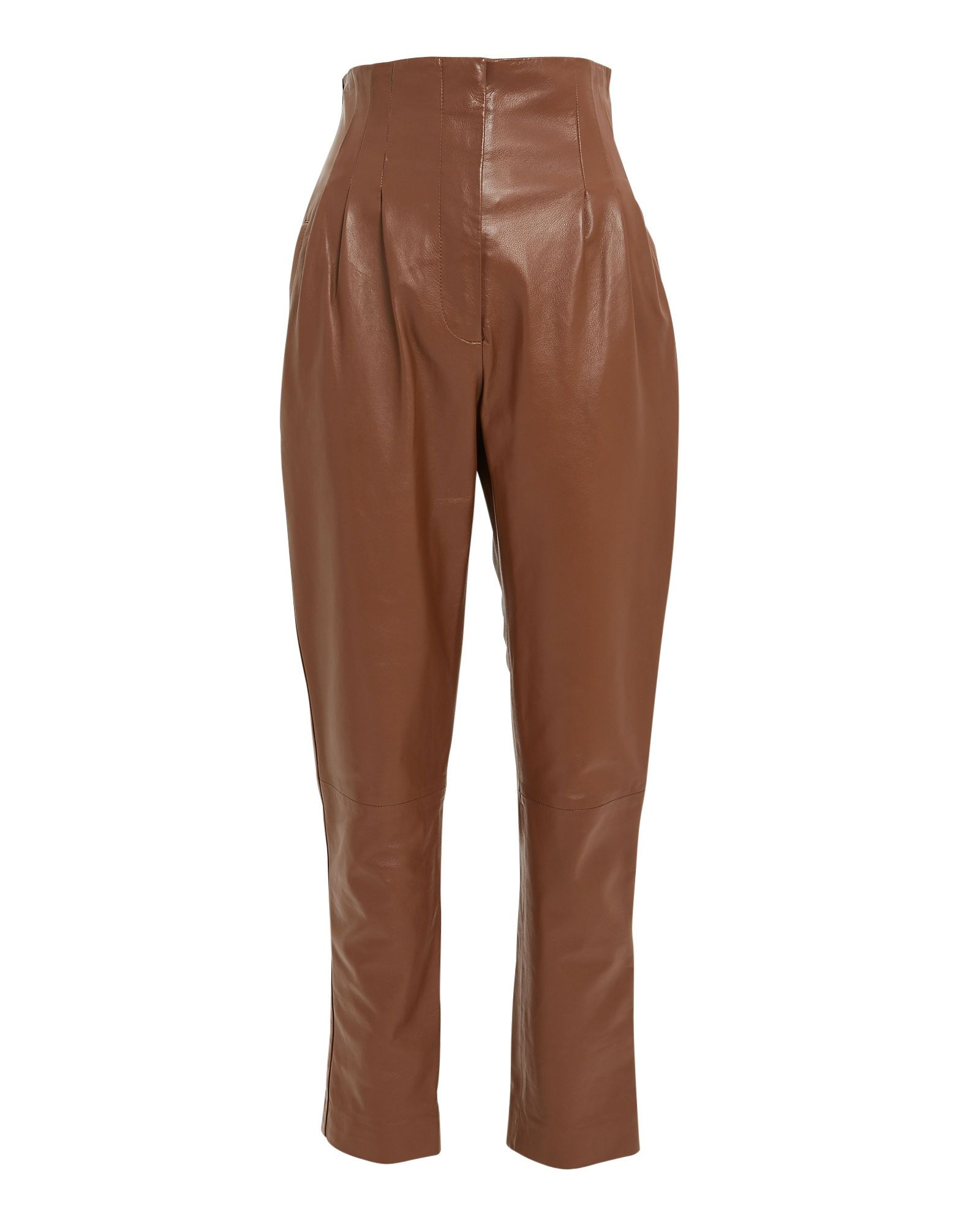 c6425df0eab69 High Waist Leather Tapered Pants