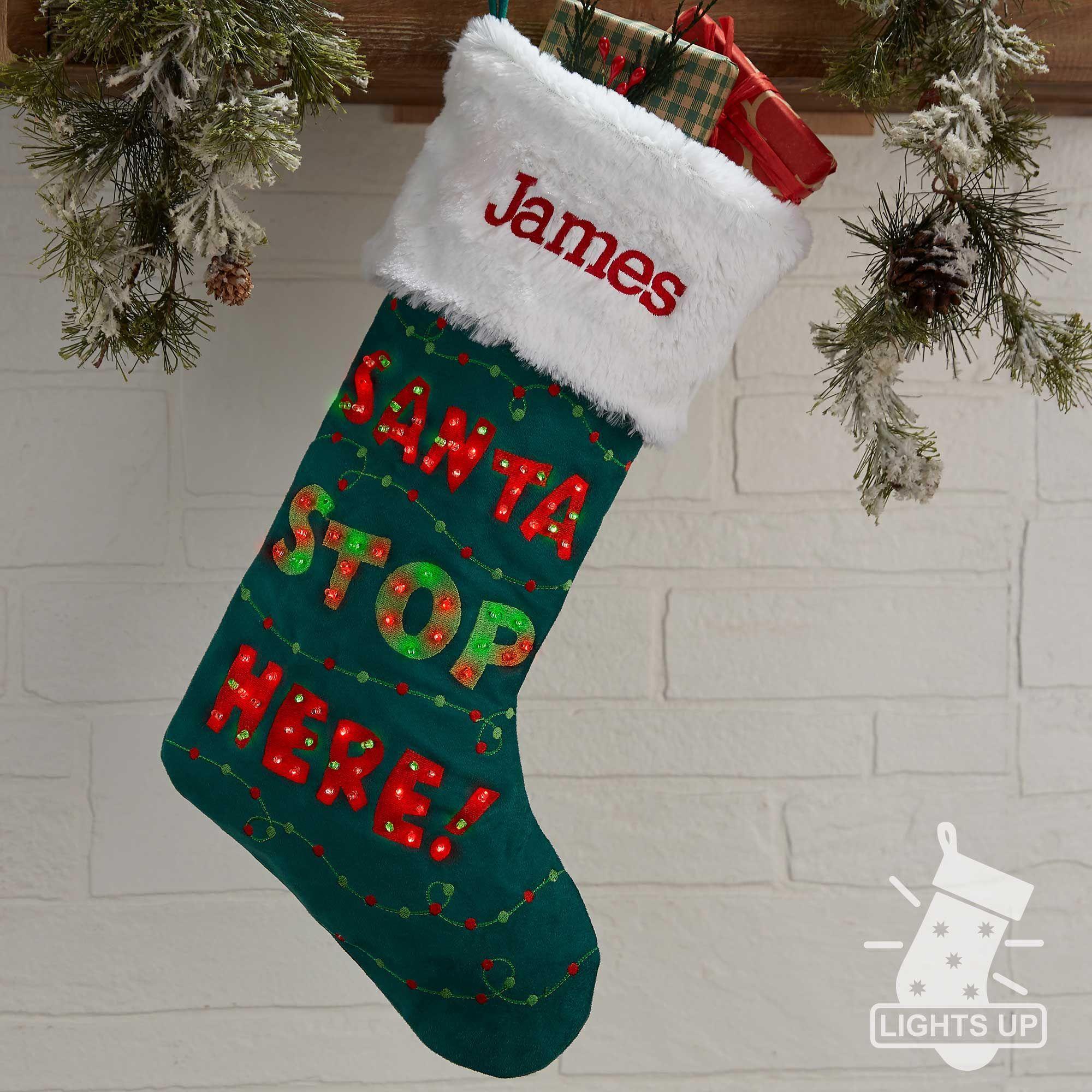f750c6951edb7 Personalized Light Up Christmas Stocking