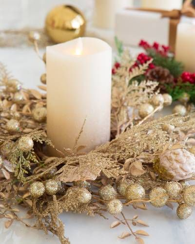Christmas Candle Rings.Golden Candle Ring