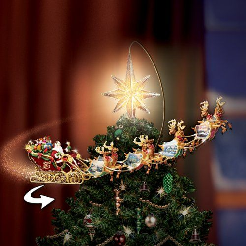 Funny Christmas Tree Toppers.Illuminated Santa And Sleigh Tree Topper