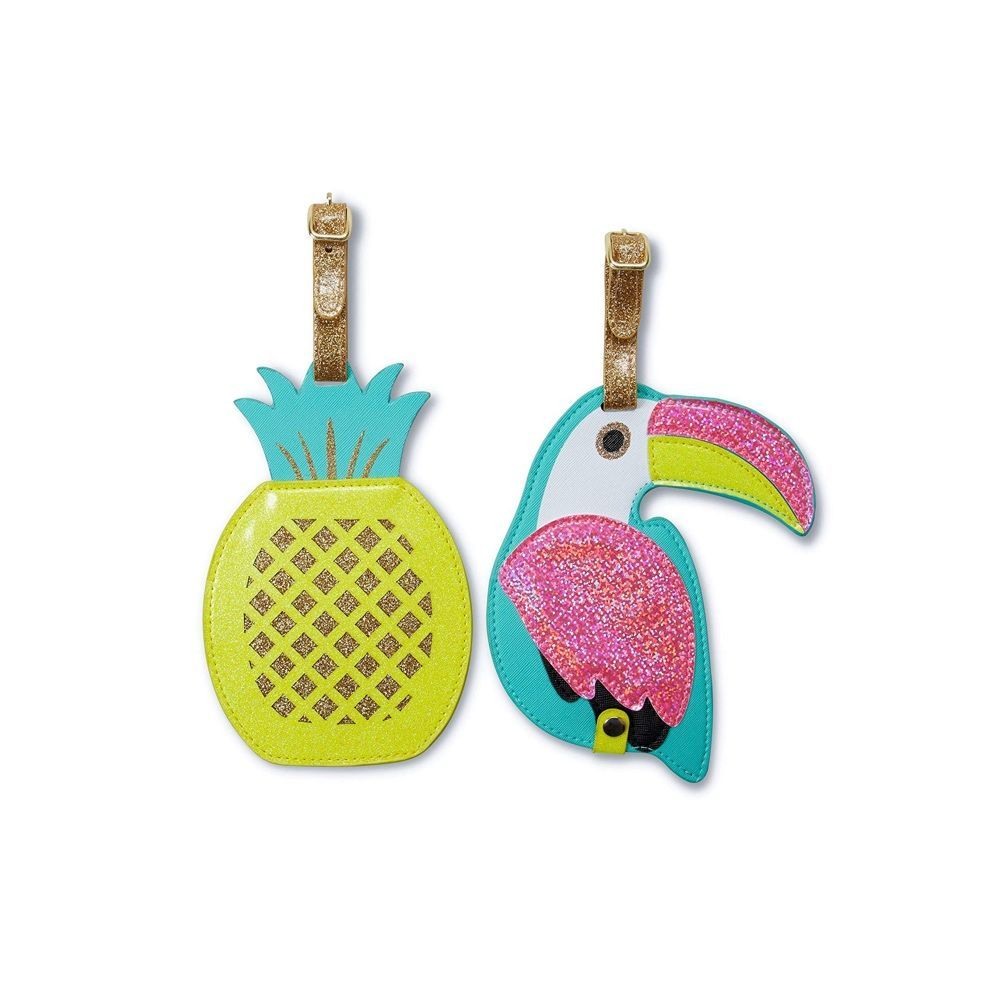 Pineapple-pattern Leather Luggage Tags Personalized Privacy Cover With Adjustable Strap