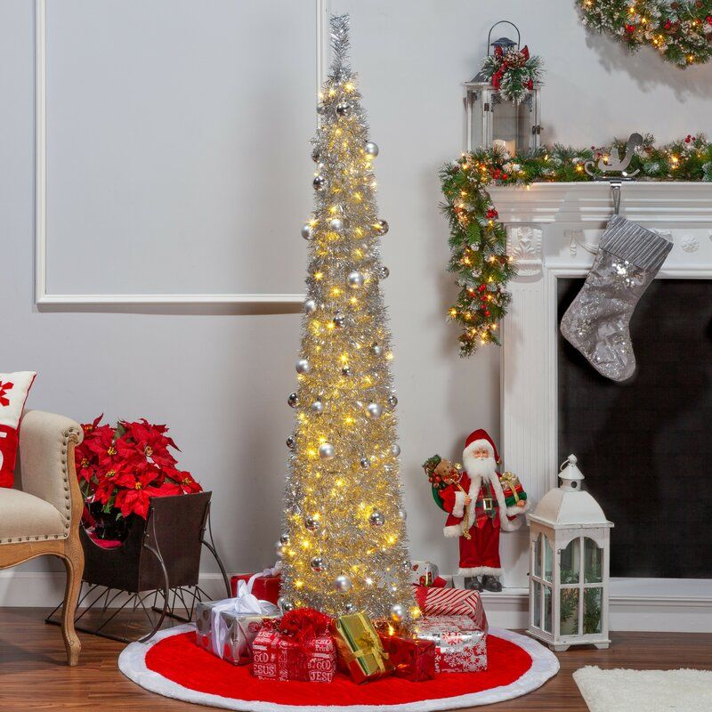 Christmas Tree With Lights.Pop Up Decorated Silver Tree
