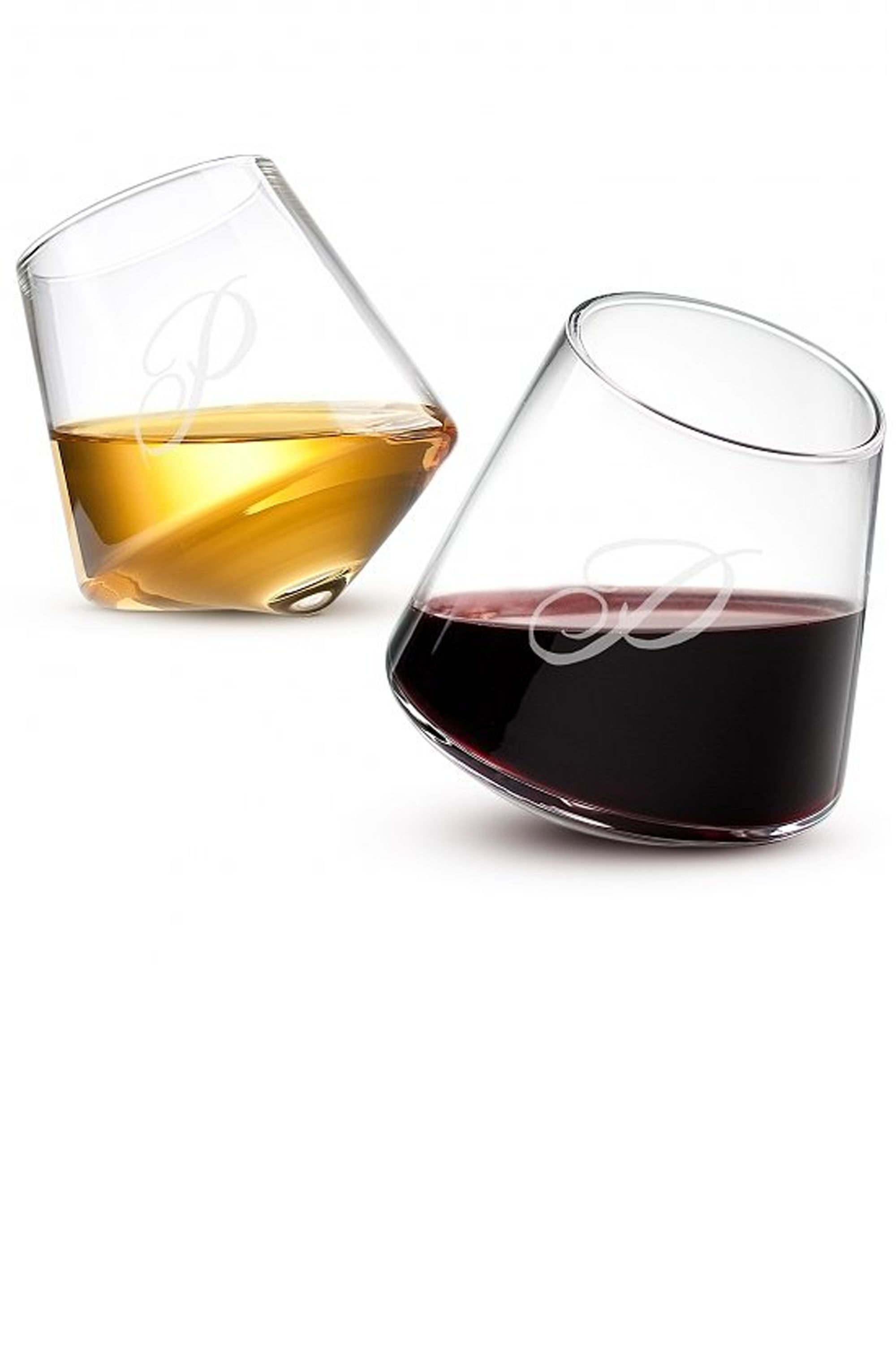 Christmas Gifts For Wine Lovers.Personalized Angled Glass Set