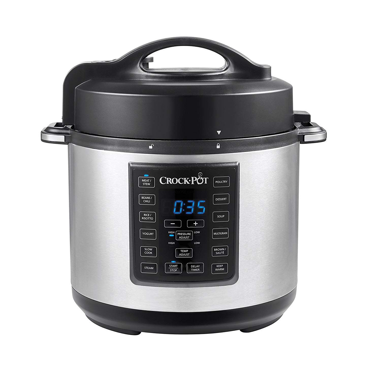7 Quart Portable Manual Slow Cooker Crock-Pot Secure Safe Glass Lid Black