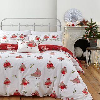 Robins Single Christmas Duvet Cover Set