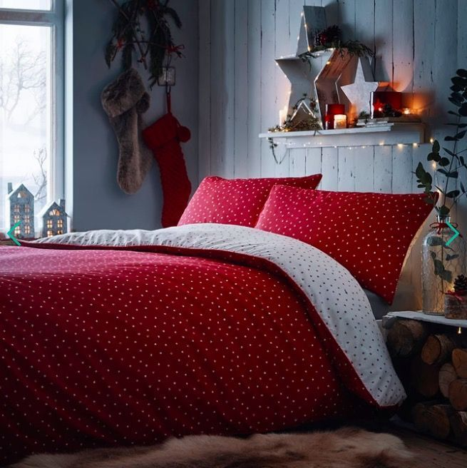 Christmas Duvet Cover Sausage Dogs Red Cute Print Easy Care Quilt Bedding Sets