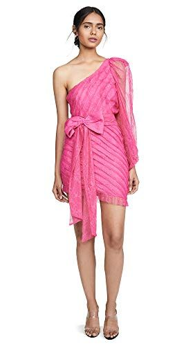 For Love \u0026 Lemons Women\u0027s Dynasty One Shoulder Dress, Cosmo Lace, Pink,  Large