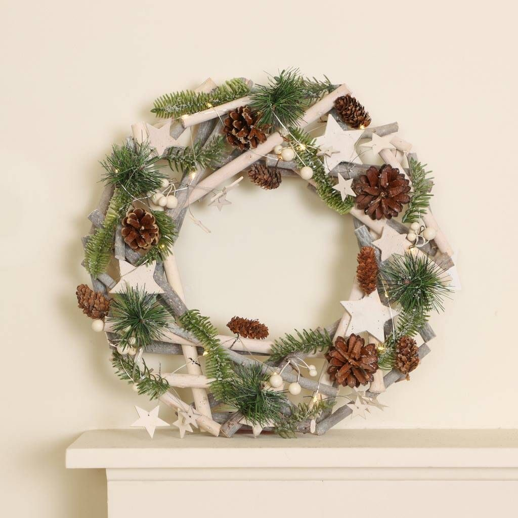 60cm Frosted Cashmere Wreath Christmas Door Wreath Display
