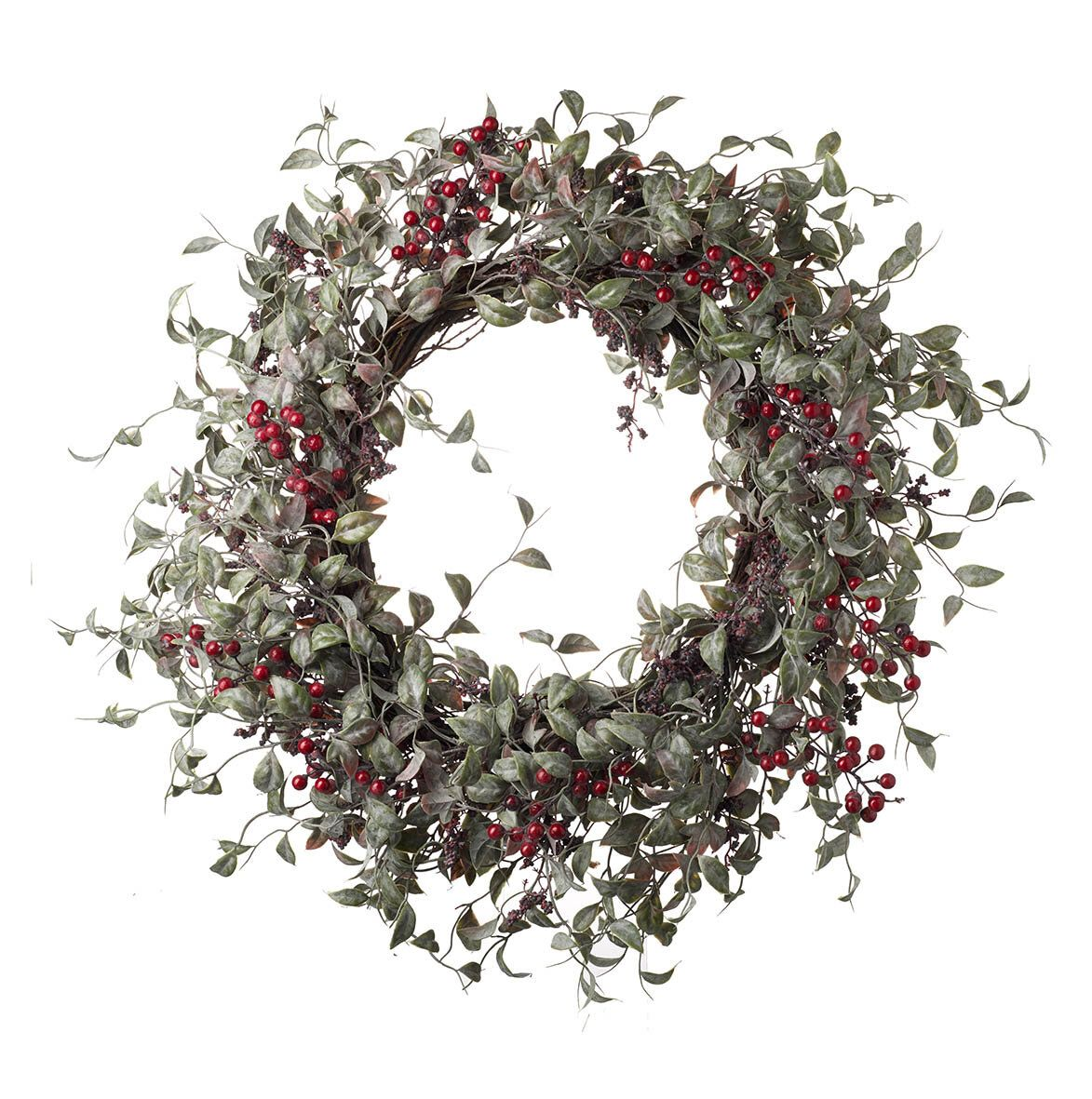 Christmas Heart Wreath.Artificial Wreath With Berries