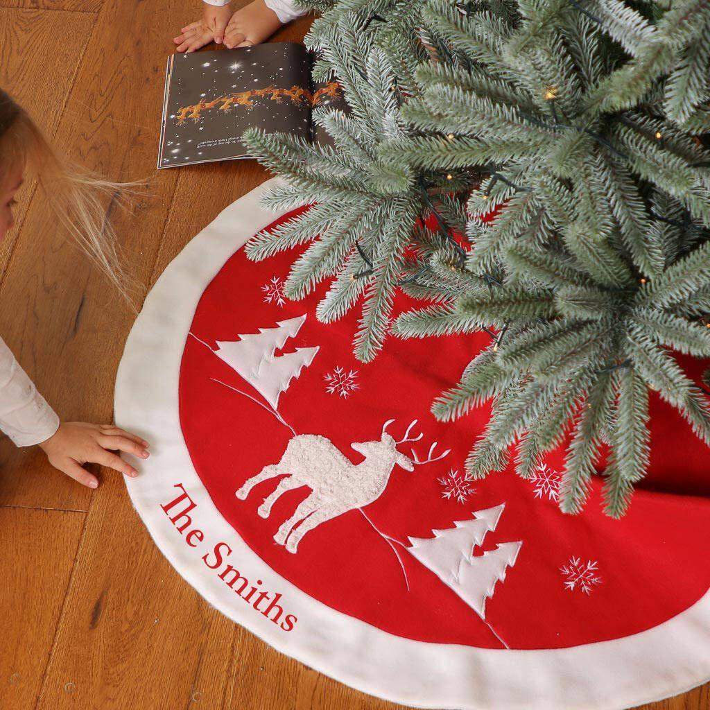 Christmas Tree Skirt Pattern.Personalised Red Woodland Reindeer Christmas Tree Skirt