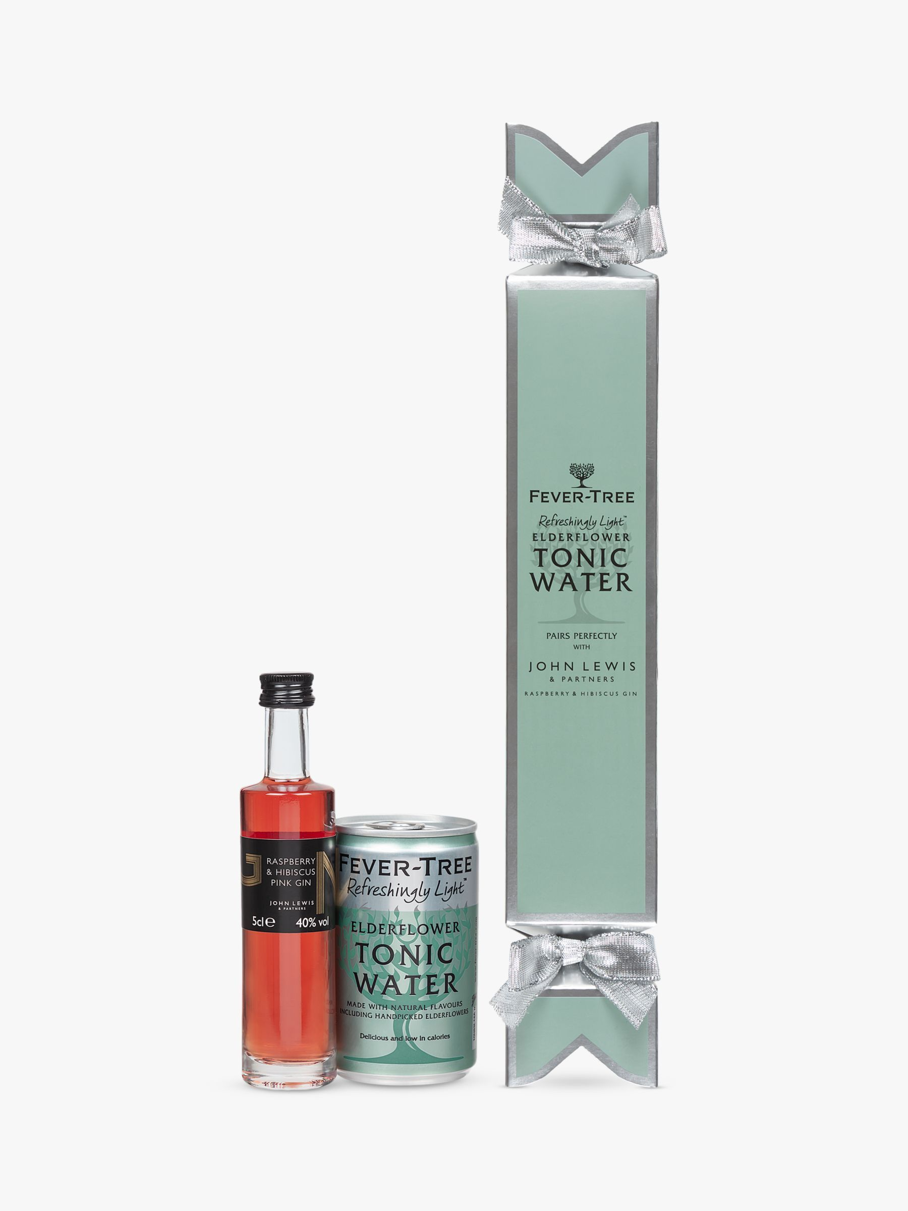 Fever Tree John Lewis Partners Raspberry Hibiscus Gin And Elderflower Tonic Water Cracker 5cl 150ml