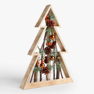 Décoration d'arbre en bois de baies orange feu
