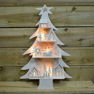 Atelier de Noël Arbre en bois Village enneigé