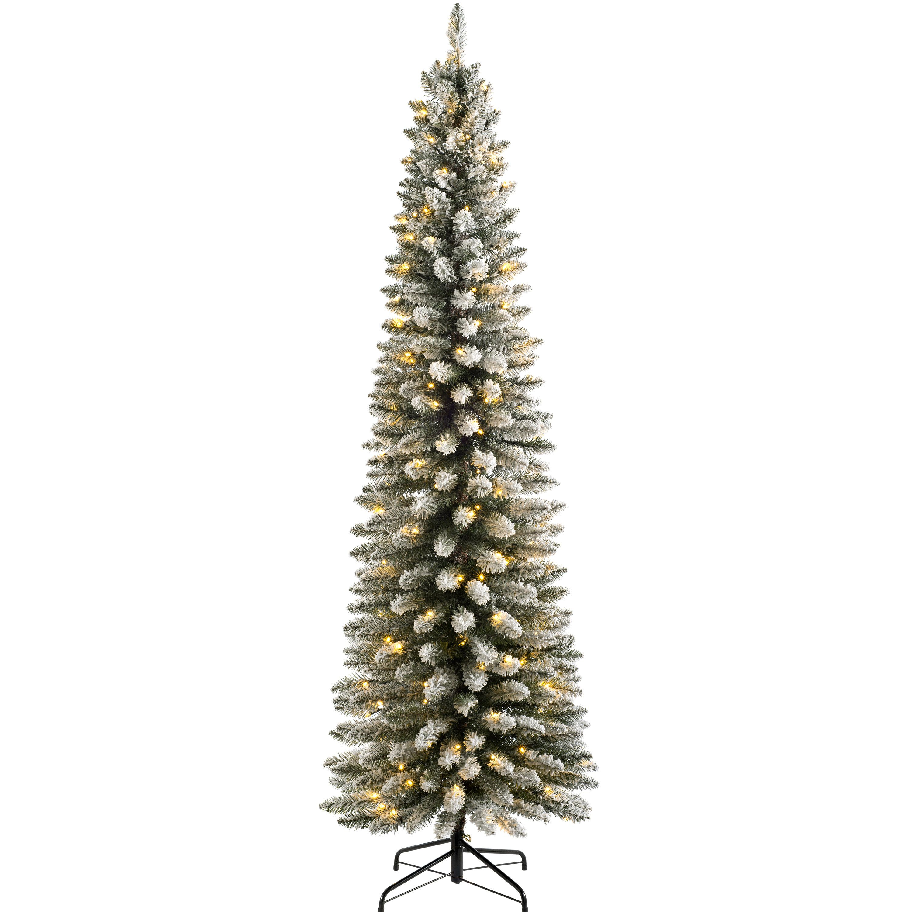 Christmas Tree Snow.Pencil 6 5ft Snow Flocked Artificial Christmas Tree With 180 Clear And White Lights