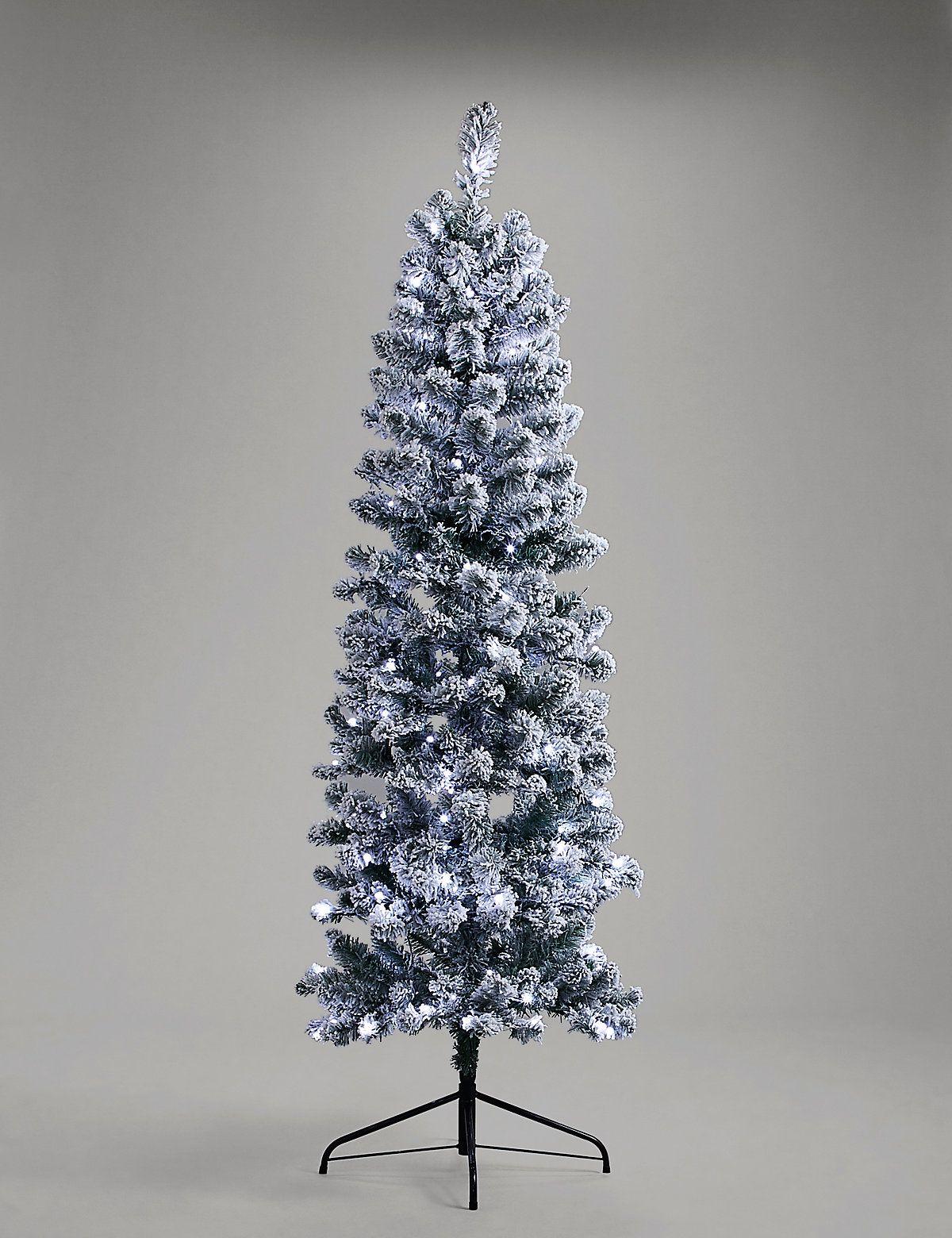 Christmas Branch Tree.6ft Pre Lit Slim Snowy Christmas Tree