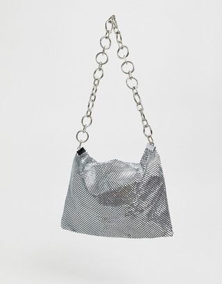 Glamoroussilver sequin mesh 90s shoulder bag with chain strap