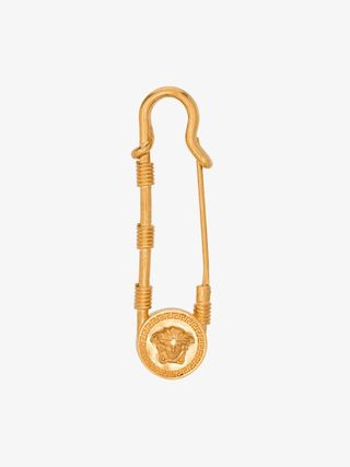 Versacegold tone medusa safety pin brooch