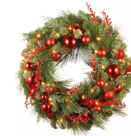 Pre Lit Led 30 Inch Christmas Wreath
