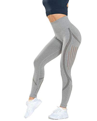 Marke AURIQUE Damen Sport Leggings High Shine Panel