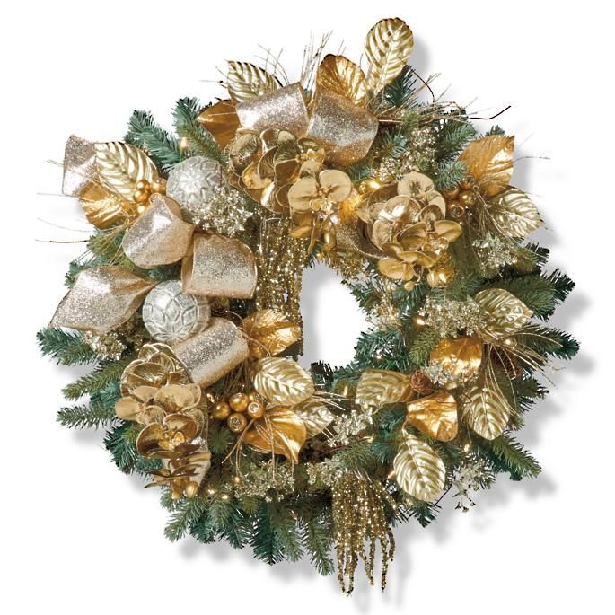 Gold Christmas Wreath.Dried Oak Leaf Wreath